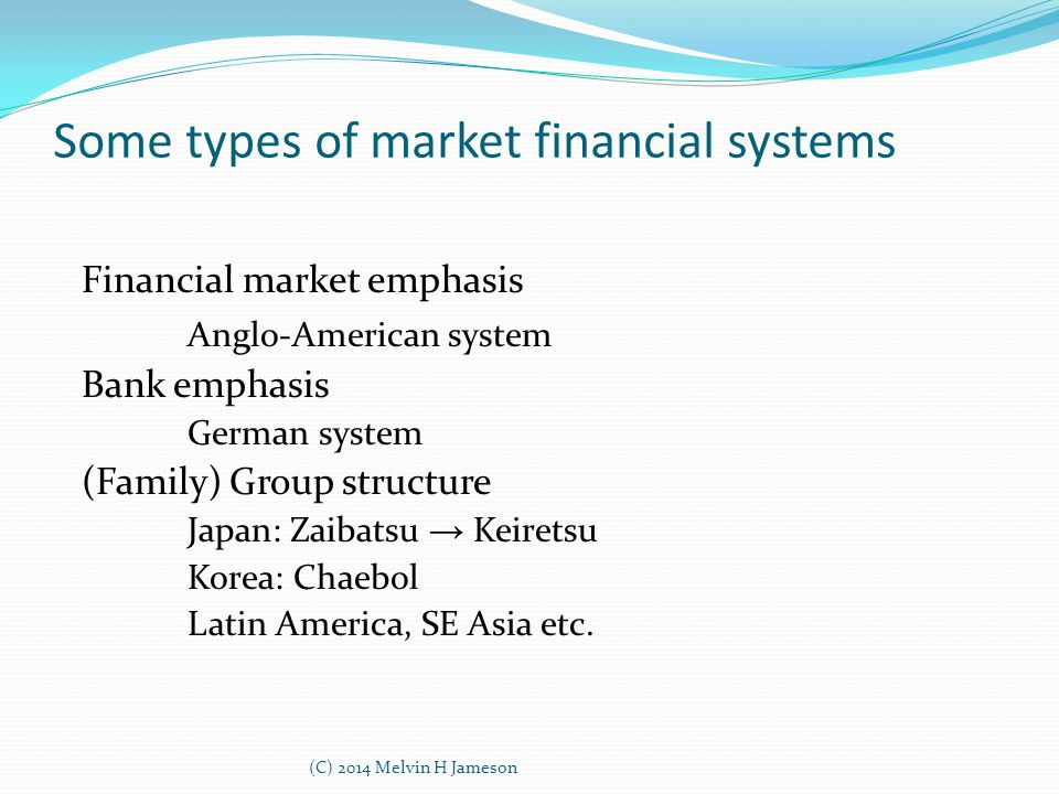 Some types of market financial systems Financial market emphasis Anglo-American system Bank emphasis German system (Family) Group structure Japan: Zaibatsu → Keiretsu Korea: Chaebol Latin America, SE Asia etc.