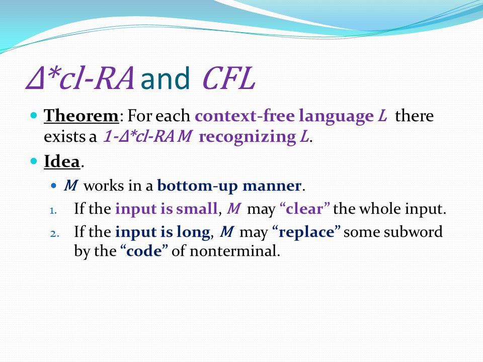 Δ*cl-RA and CFL Theorem: For each context-free language L there exists a 1-Δ*cl-RA M recognizing L.