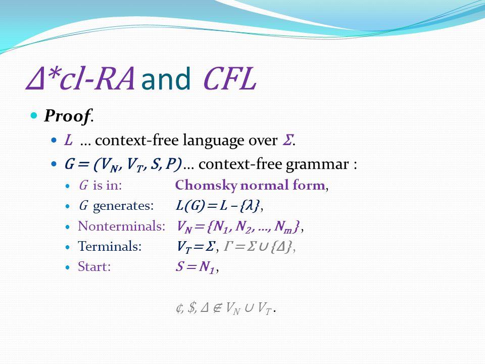 Δ*cl-RA and CFL Proof. L … context-free language over Σ.