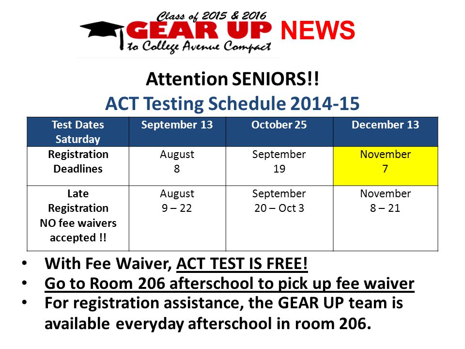 NEWS Attention SENIORS!. ACT Testing Schedule 2014-15 With Fee Waiver, ACT TEST IS FREE.