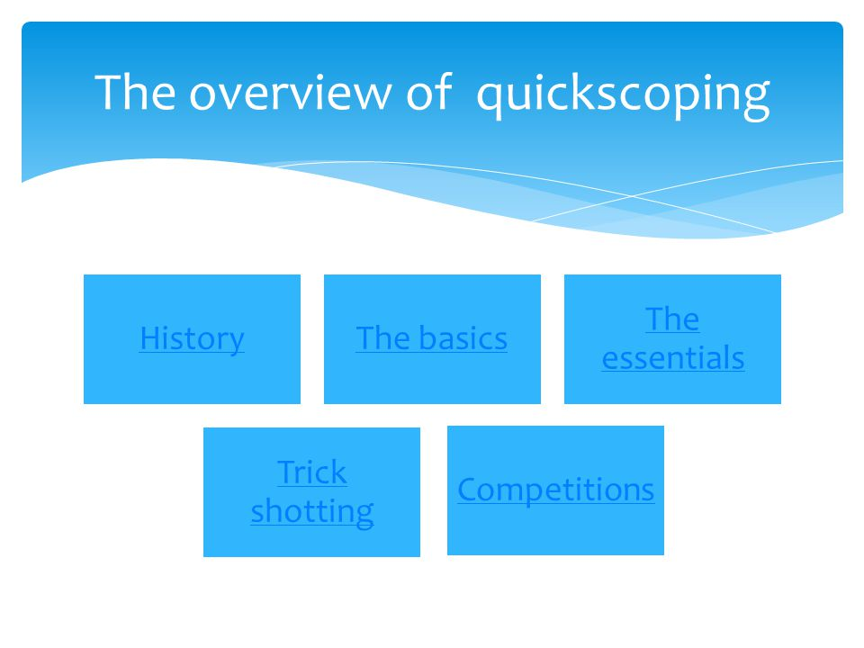 HistoryThe basics The essentials Trick shotting Competition s The overview of quickscoping