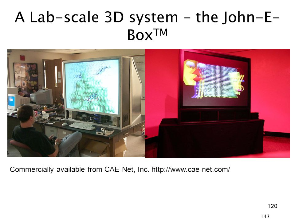 120 143 A Lab-scale 3D system – the John-E- Box TM Commercially available from CAE-Net, Inc.