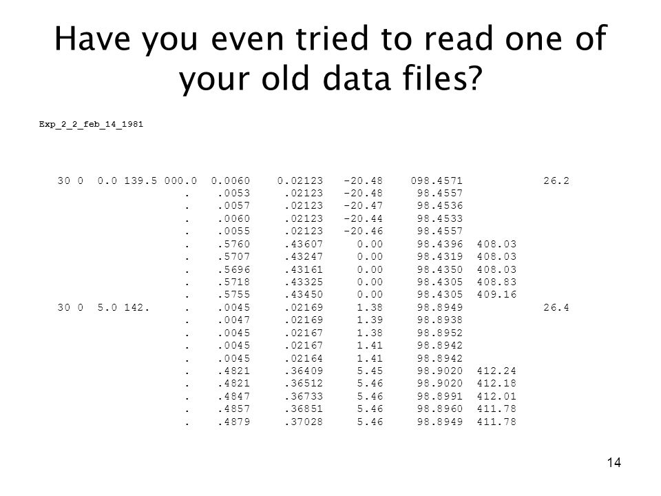 14 Have you even tried to read one of your old data files? Exp_2_2_feb_14_1981 30 0 0.0 139.5 000.0 0.0060 0.02123 -20.48 098.4571 26.2..0053.02123 -2
