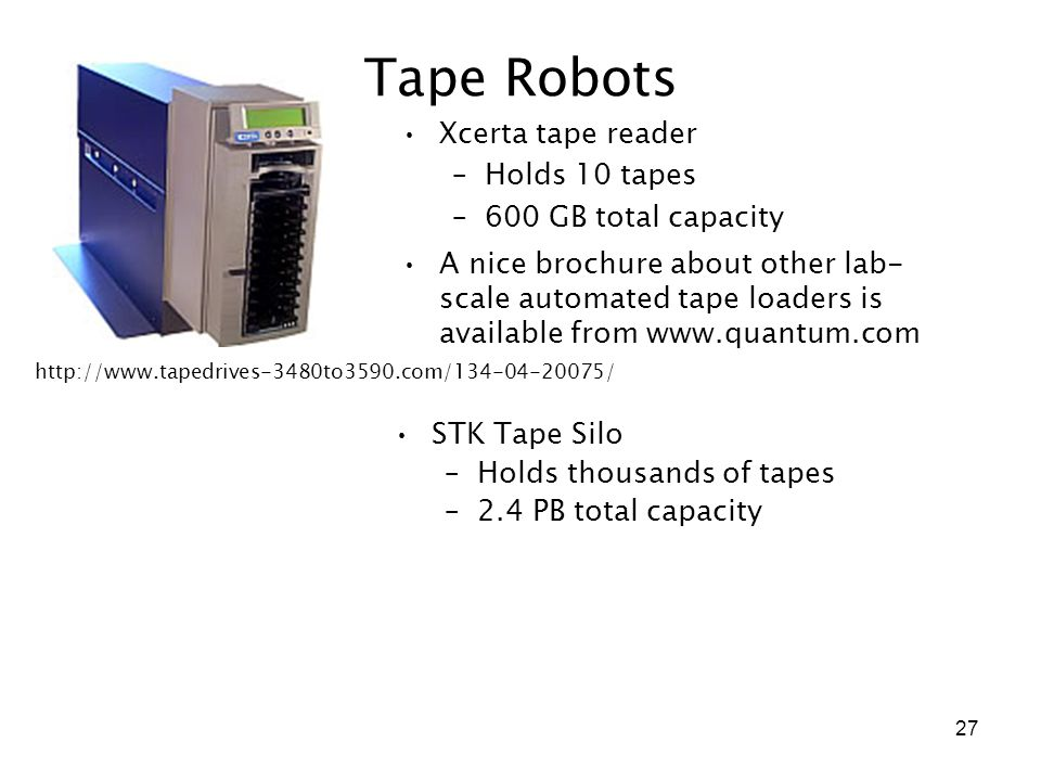 27 Tape Robots STK Tape Silo –Holds thousands of tapes –2.4 PB total capacity Xcerta tape reader –Holds 10 tapes –600 GB total capacity http://www.tap