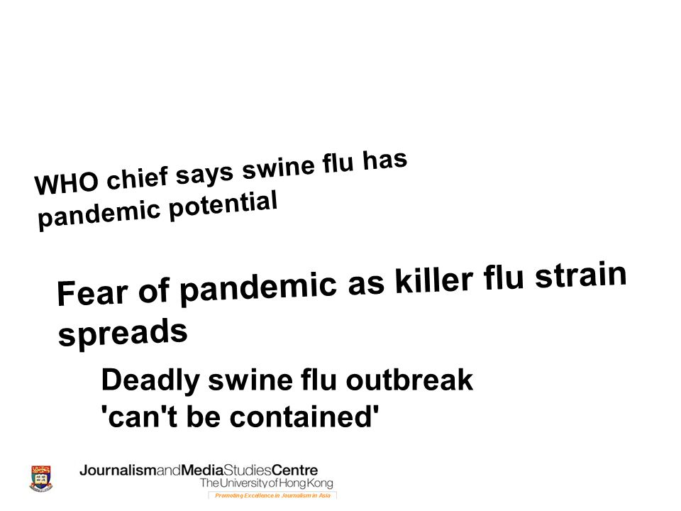 WHO chief says swine flu has pandemic potential Deadly swine flu outbreak 'can't be contained' Fear of pandemic as killer flu strain spreads