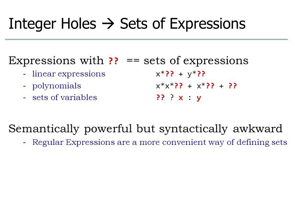 Integer Holes  Sets of Expressions Expressions with ?? == sets of expressions - linear expressions x*?? + y*?? - polynomials x*x*?? + x*?? + ?? - set
