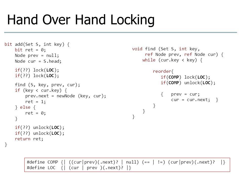 Hand Over Hand Locking bit add(Set S, int key) { bit ret = 0; Node prev = null; Node cur = S.head; aas if(??) lock(LOC); aas find (S, key, prev, cur);