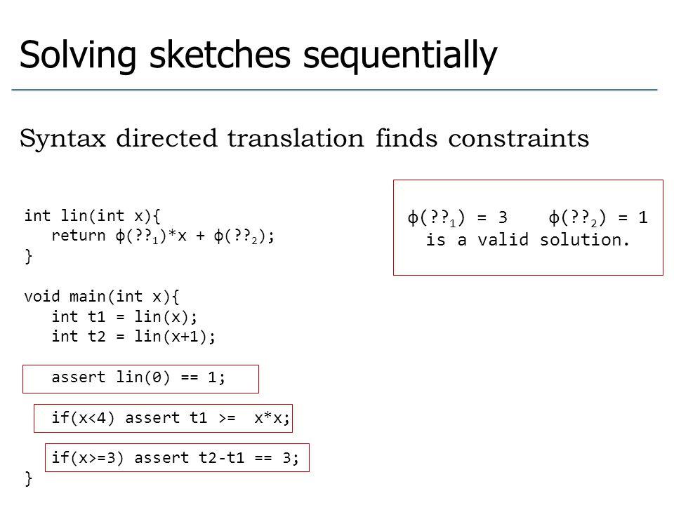 int lin(int x){ return φ(?? 1 )*x + φ(?? 2 ); } void main(int x){ int t1 = lin(x); int t2 = lin(x+1); assert lin(0) == 1; if(x = x*x; if(x>=3) assert