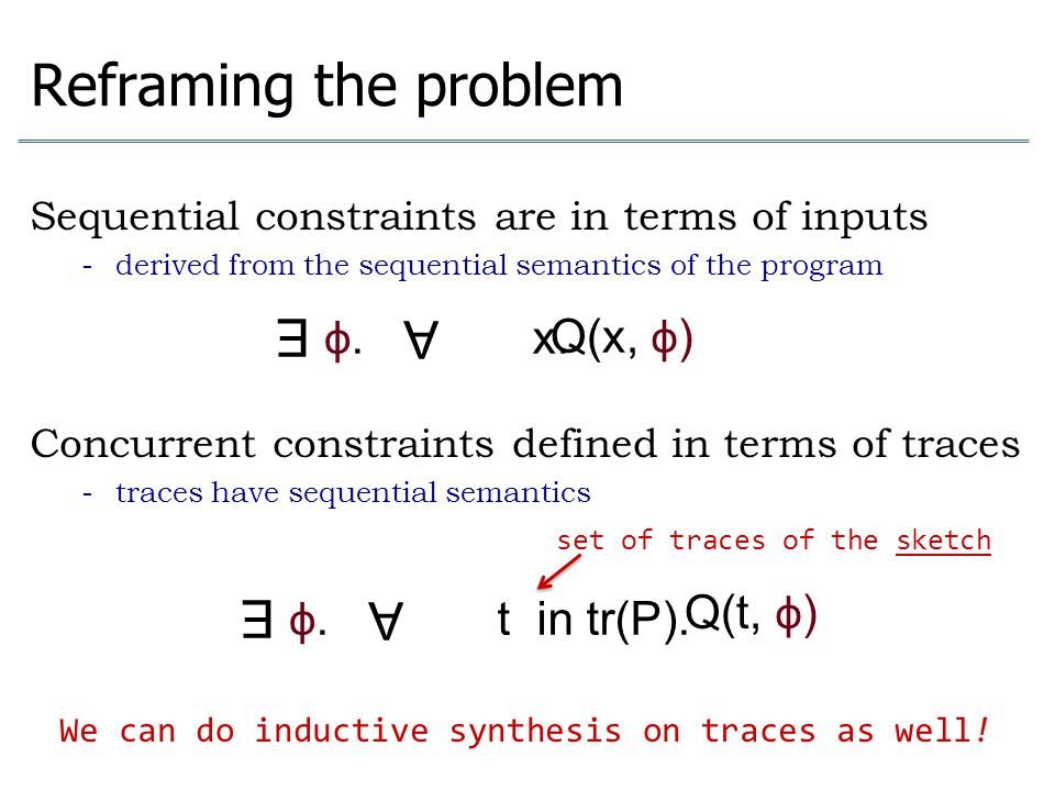 Reframing the problem Sequential constraints are in terms of inputs - derived from the sequential semantics of the program Concurrent constraints defi