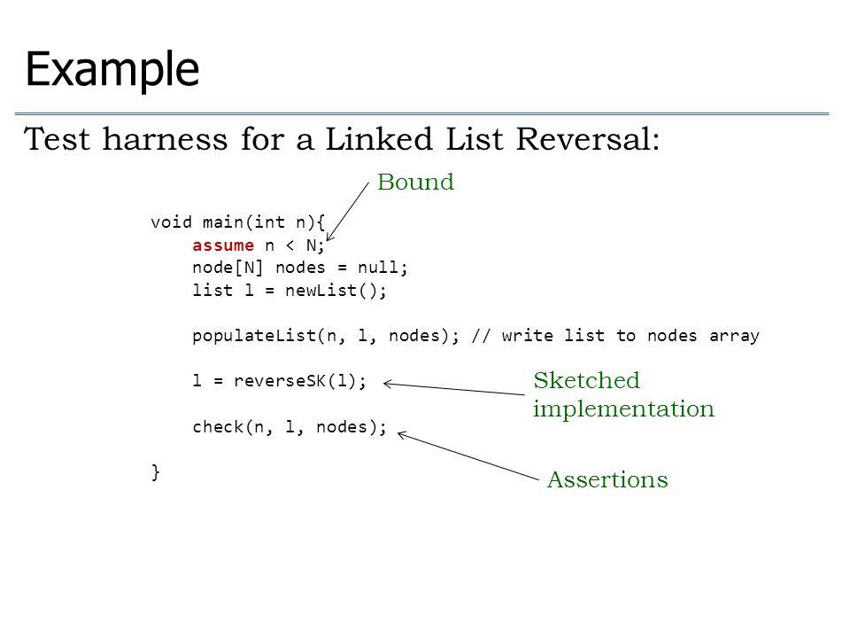 void check(int n, list l, node[N] nodes){ node cur = l.head; int i=0; while(cur != null){ assert cur == nodes[n-1-i]; cur = cur.next; i = i+1; } assert i == n; if(n > 0){ assert l.head == nodes[n-1]; assert l.tail == nodes[0]; assert l.tail.next == null; }else{ assert l.head == null; assert l.tail == null; } Example Test harness for a Linked List Reversal: Assertions