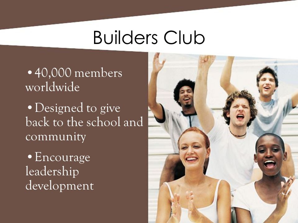 Builders Club 40,000 members worldwide Designed to give back to the school and community Encourage leadership development