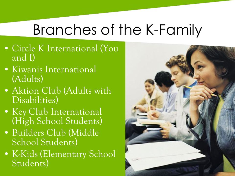 Branches of the K-Family Circle K International (You and I) Kiwanis International (Adults) Aktion Club (Adults with Disabilities) Key Club International (High School Students) Builders Club (Middle School Students) K-Kids (Elementary School Students)