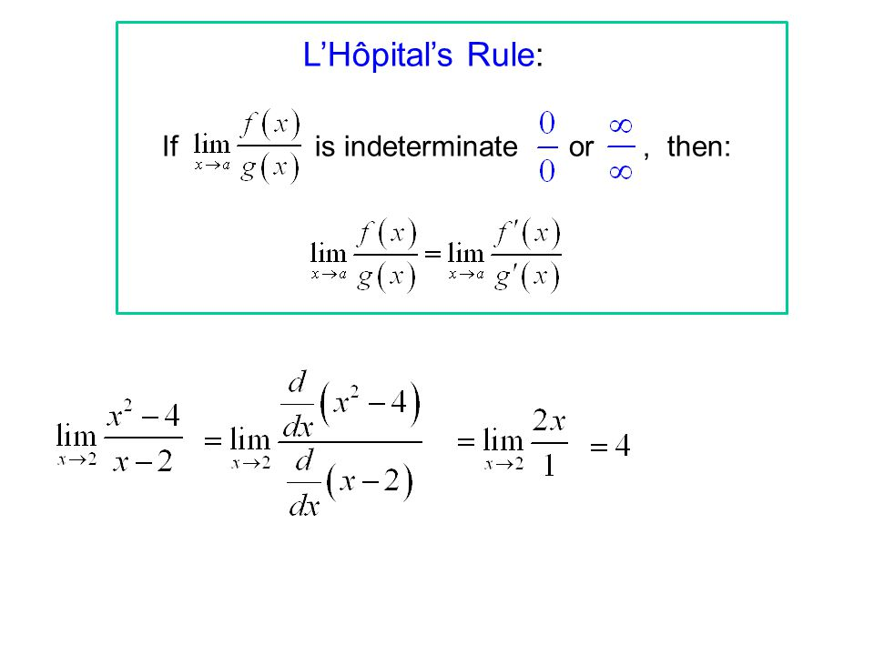 L'Hôpital's Rule: If is indeterminate or, then: