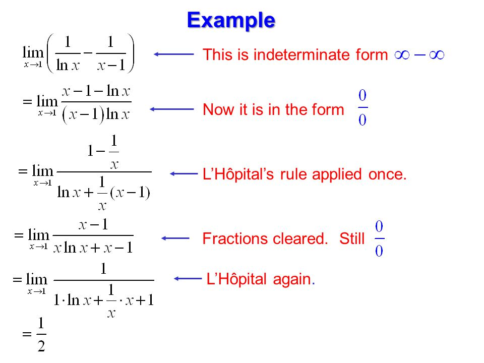 Now it is in the form This is indeterminate form L'Hôpital's rule applied once.