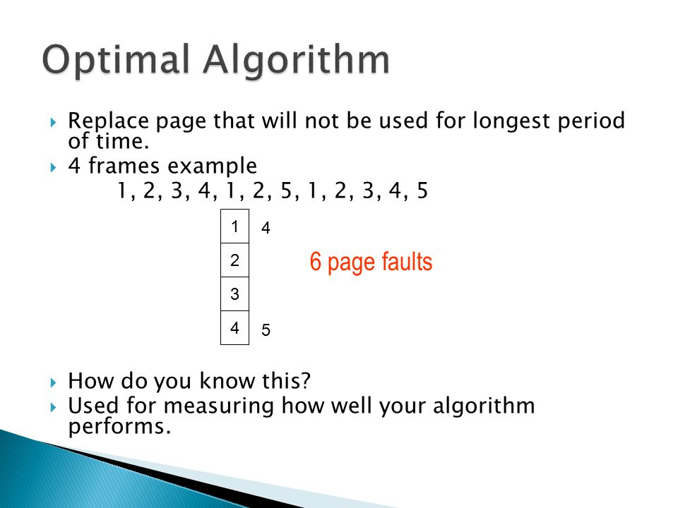  Replace page that will not be used for longest period of time.  4 frames example 1, 2, 3, 4, 1, 2, 5, 1, 2, 3, 4, 5  How do you know this?  Used