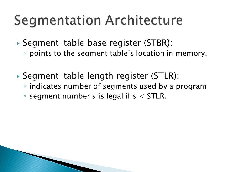  Segment-table base register (STBR): ◦ points to the segment table's location in memory.  Segment-table length register (STLR): ◦ indicates number o