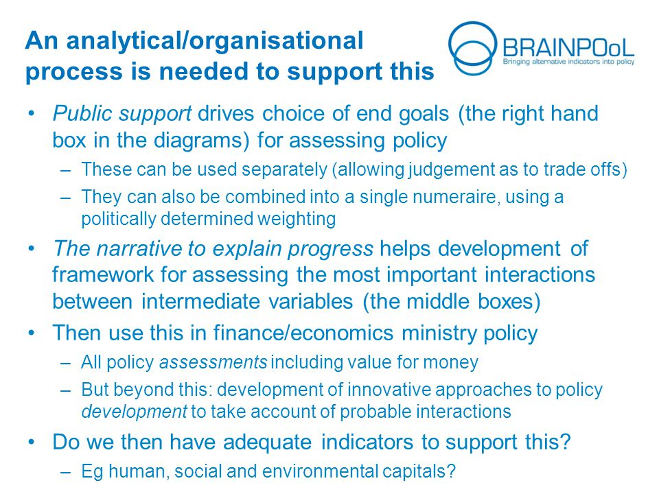 An analytical/organisational process is needed to support this Public support drives choice of end goals (the right hand box in the diagrams) for assessing policy –These can be used separately (allowing judgement as to trade offs) –They can also be combined into a single numeraire, using a politically determined weighting The narrative to explain progress helps development of framework for assessing the most important interactions between intermediate variables (the middle boxes) Then use this in finance/economics ministry policy –All policy assessments including value for money –But beyond this: development of innovative approaches to policy development to take account of probable interactions Do we then have adequate indicators to support this.