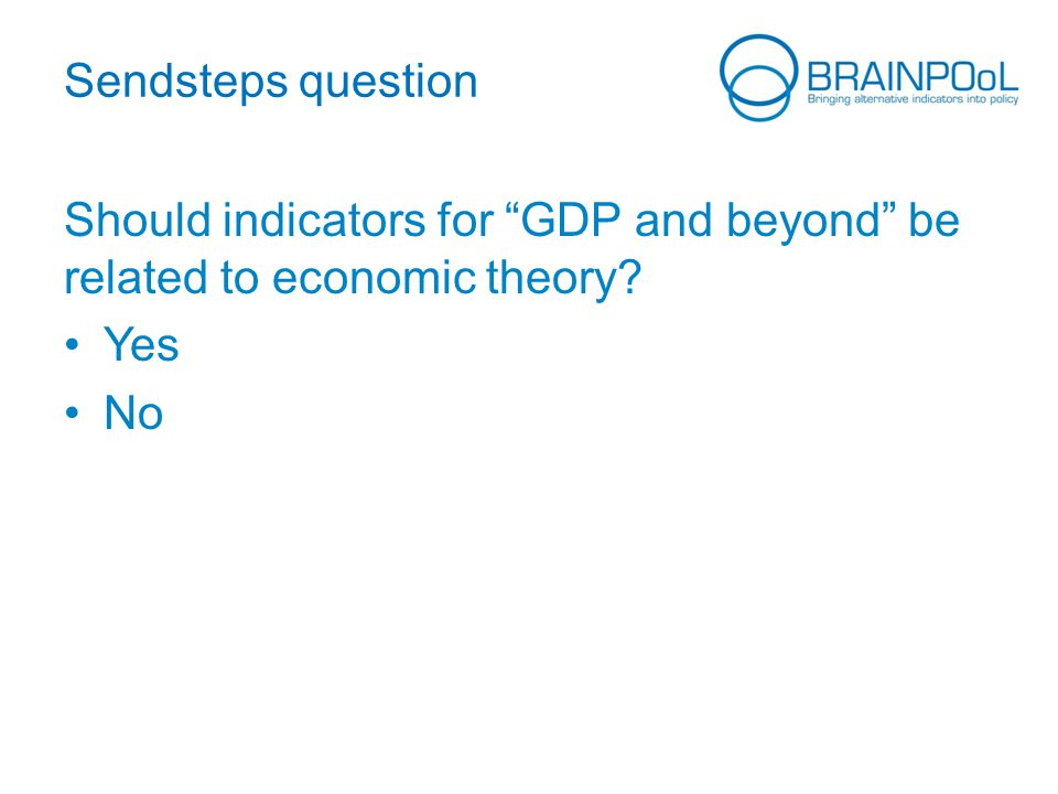 Sendsteps question Should indicators for GDP and beyond be related to economic theory Yes No