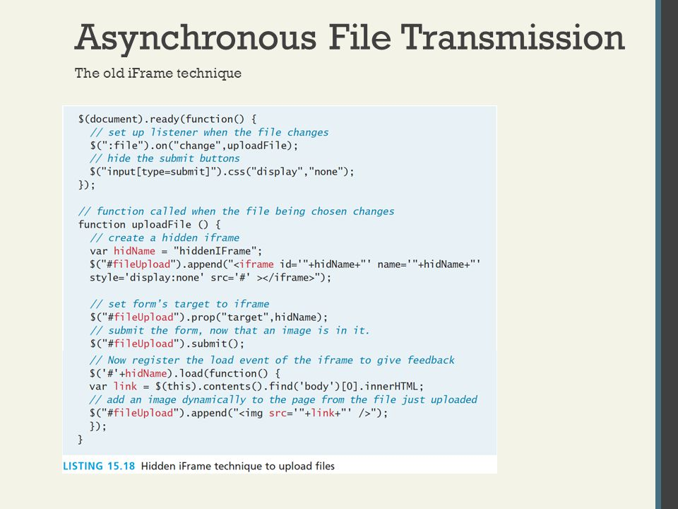 Asynchronous File Transmission The old iFrame technique