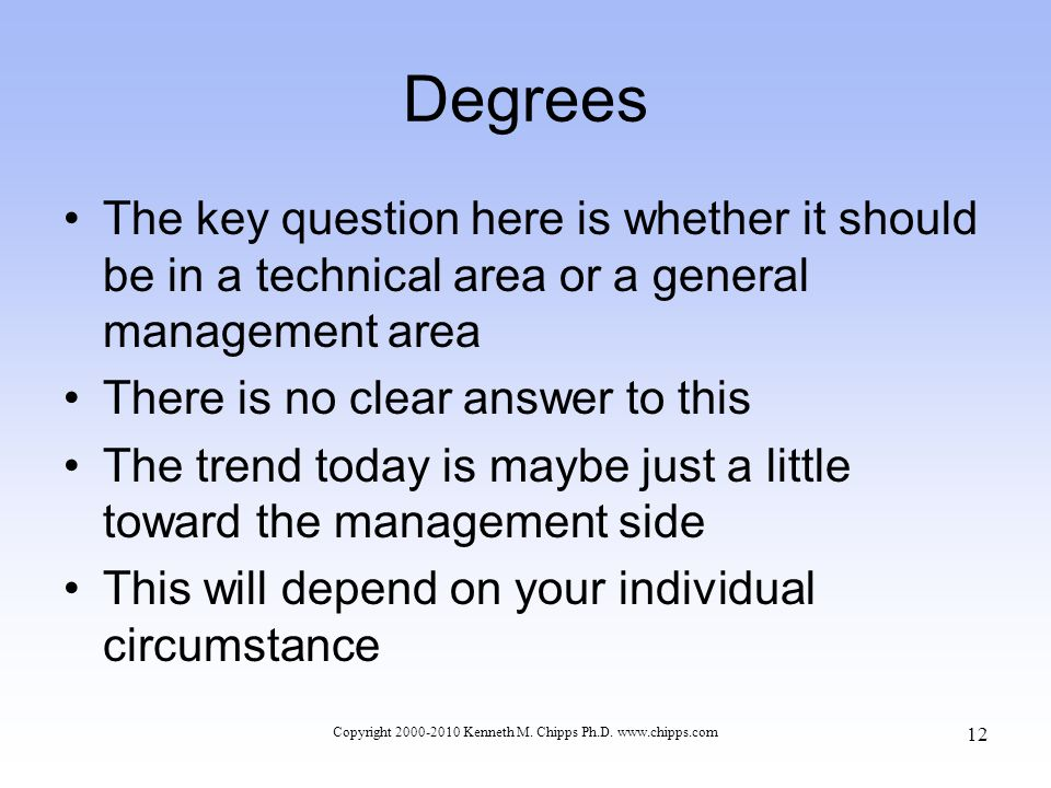 Degrees The key question here is whether it should be in a technical area or a general management area There is no clear answer to this The trend today is maybe just a little toward the management side This will depend on your individual circumstance Copyright 2000-2010 Kenneth M.