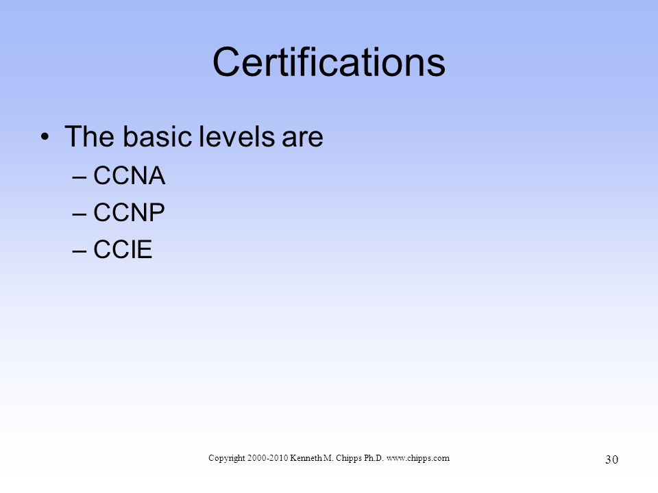 Certifications The basic levels are –CCNA –CCNP –CCIE Copyright 2000-2010 Kenneth M.