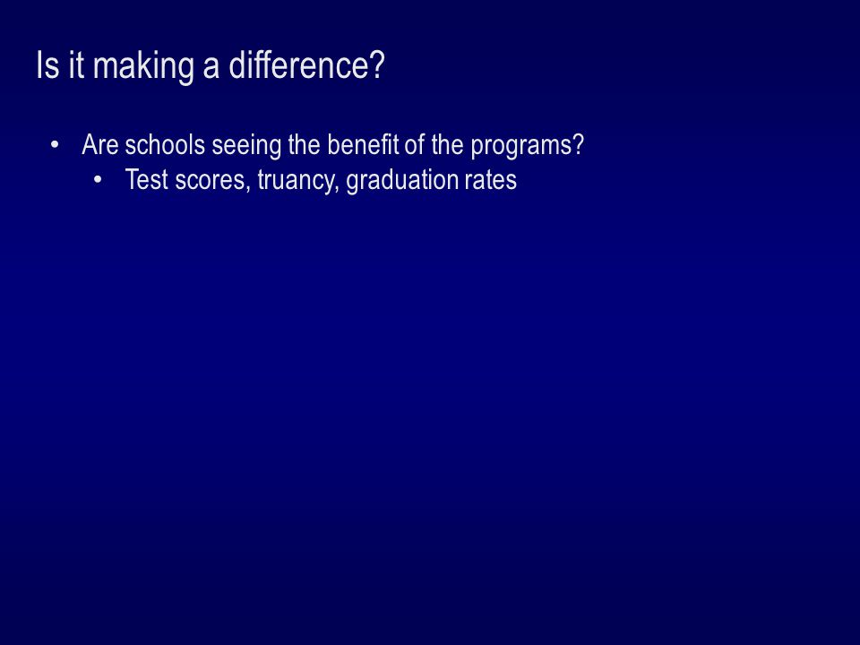 Is it making a difference. Are schools seeing the benefit of the programs.