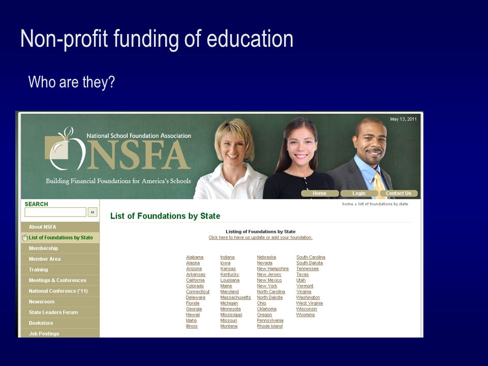 Non-profit funding of education What are they doing?
