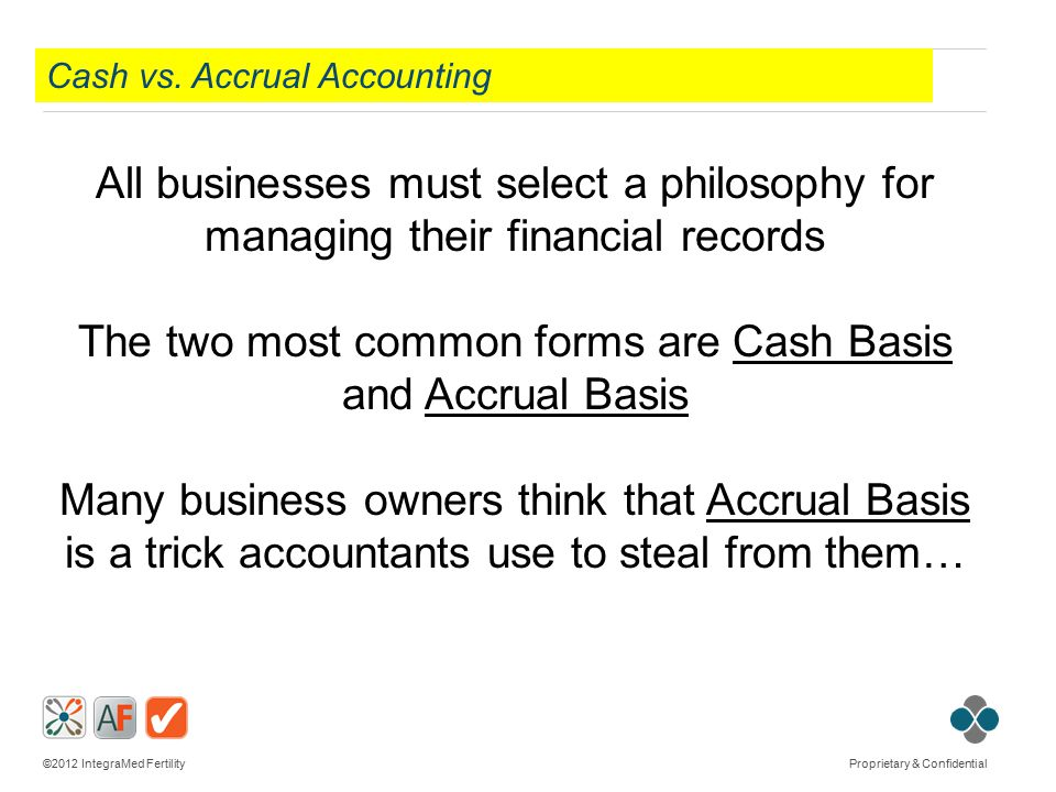 ©2012 IntegraMed Fertility Proprietary & Confidential Cash vs. Accrual Accounting All businesses must select a philosophy for managing their financial