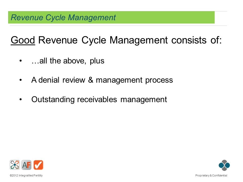©2012 IntegraMed Fertility Proprietary & Confidential Revenue Cycle Management Good Revenue Cycle Management consists of: …all the above, plus A denia