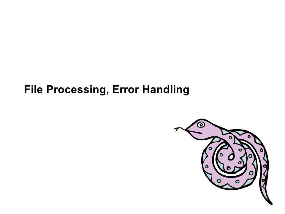 File Processing, Error Handling