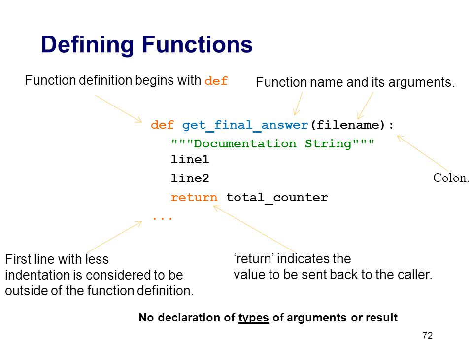 First line with less indentation is considered to be outside of the function definition.