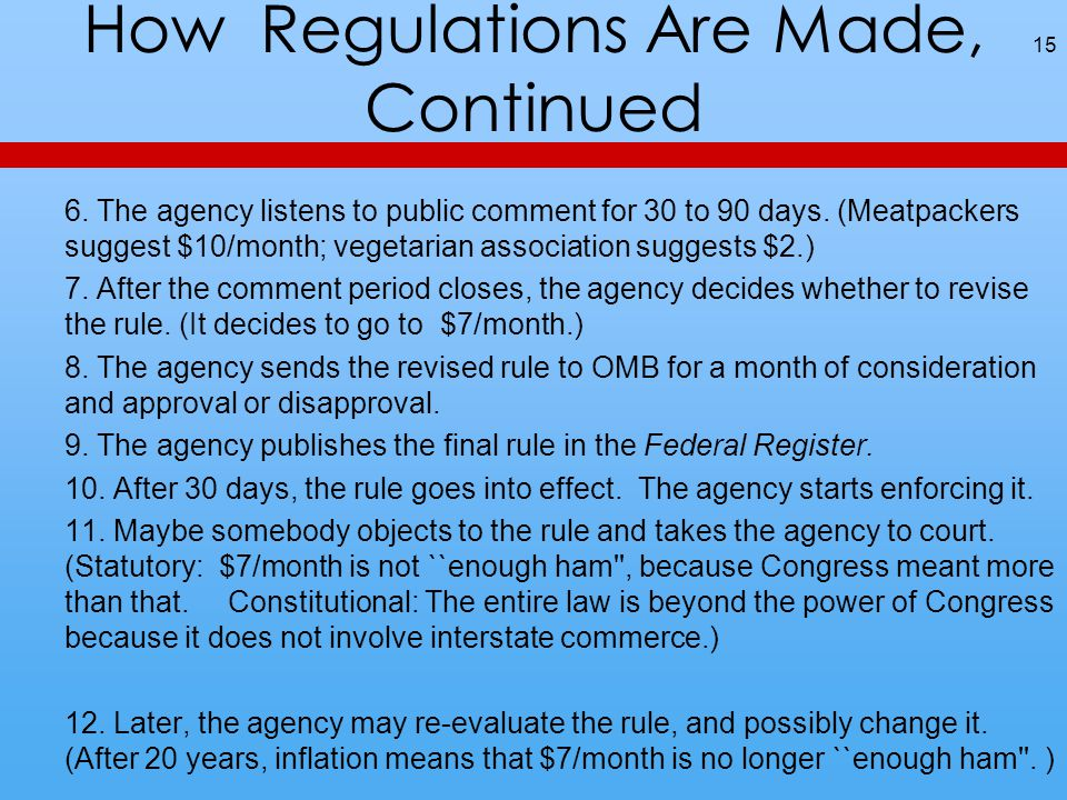How Regulations Are Made, Continued 6. The agency listens to public comment for 30 to 90 days.