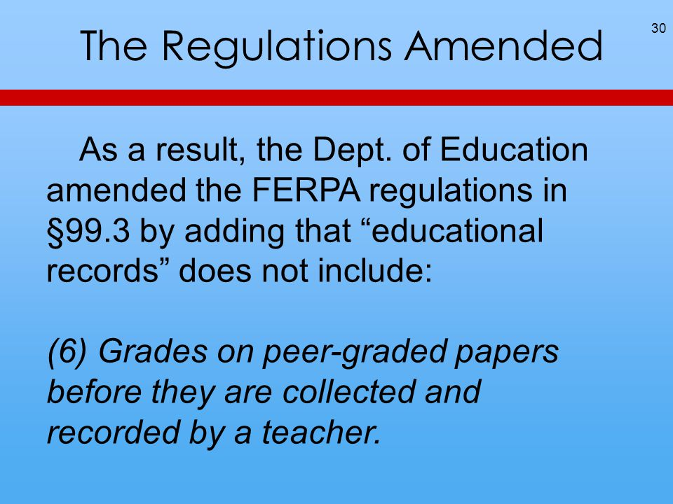 """The Regulations Amended 30 As a result, the Dept. of Education amended the FERPA regulations in §99.3 by adding that """"educational records"""" does not in"""