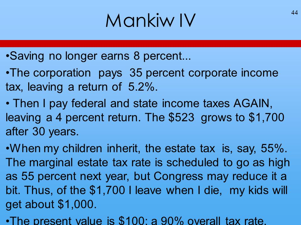 Mankiw IV 44 Saving no longer earns 8 percent... The corporation pays 35 percent corporate income tax, leaving a return of 5.2%. Then I pay federal an