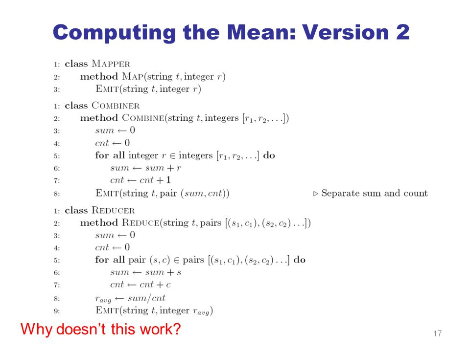 Computing the Mean: Version 2 Why doesn't this work 17