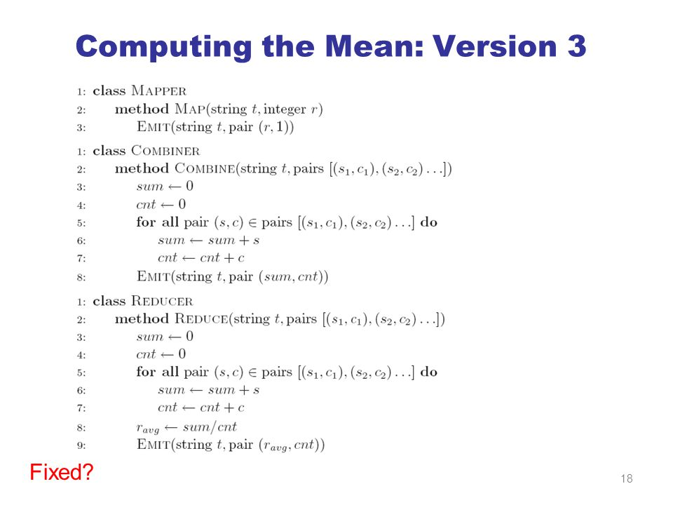 Computing the Mean: Version 3 Fixed 18