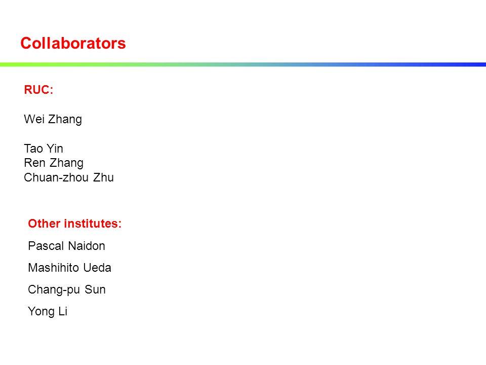 RUC: Wei Zhang Tao Yin Ren Zhang Chuan-zhou Zhu Collaborators Other institutes: Pascal Naidon Mashihito Ueda Chang-pu Sun Yong Li