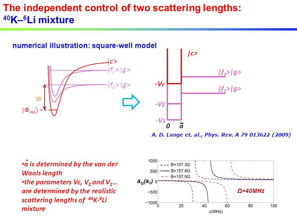 |f 2 >|g> |f 1 >|g> W |Φ res ) |c> The independent control of two scattering lengths: 40 K– 6 Li mixture numerical illustration: square-well model a 0 -V 2 |f 1 >|g> -V c -V 1 |f 2 >|g> |c> A.