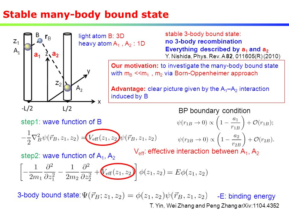 Stable many-body bound state -E: binding energy step2: wave function of A 1, A 2 3-body bound state: step1: wave function of B BP boundary condition V
