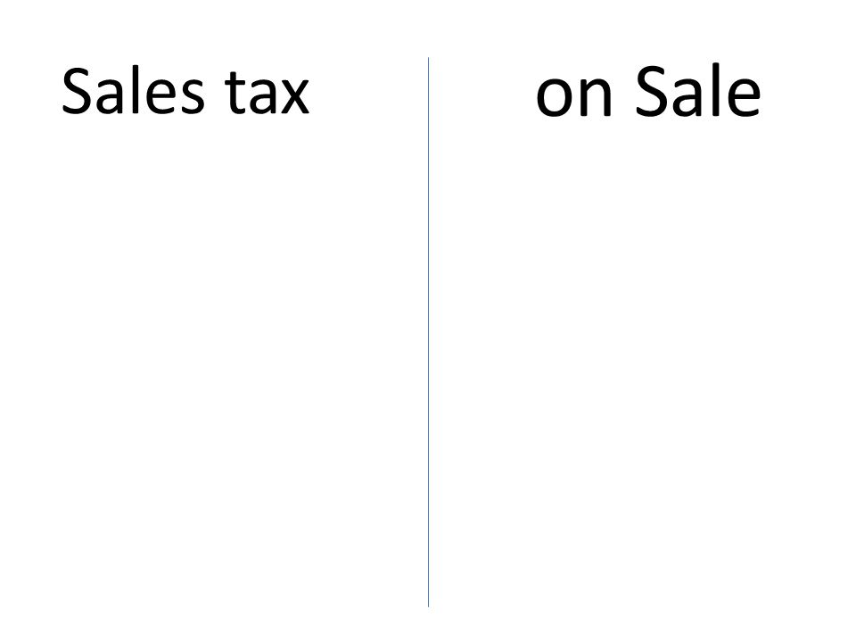 on Sale Sales tax