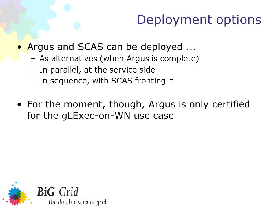 Deployment options Argus and SCAS can be deployed...