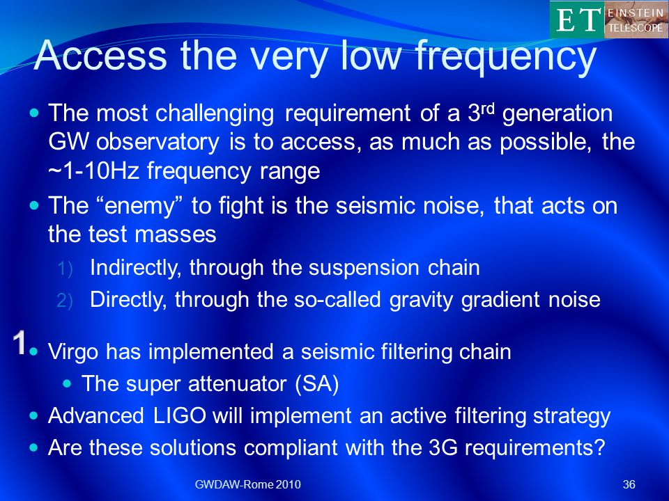 Access the very low frequency The most challenging requirement of a 3 rd generation GW observatory is to access, as much as possible, the ~1-10Hz frequency range The enemy to fight is the seismic noise, that acts on the test masses 1) Indirectly, through the suspension chain 2) Directly, through the so-called gravity gradient noise GWDAW-Rome 201036 Virgo has implemented a seismic filtering chain The super attenuator (SA) Advanced LIGO will implement an active filtering strategy Are these solutions compliant with the 3G requirements?
