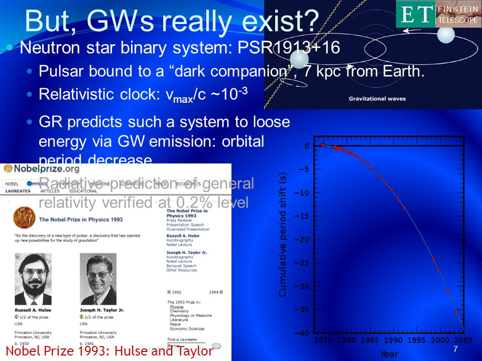 Einstein Telescope7 Neutron star binary system: PSR1913+16 Pulsar bound to a dark companion , 7 kpc from Earth.