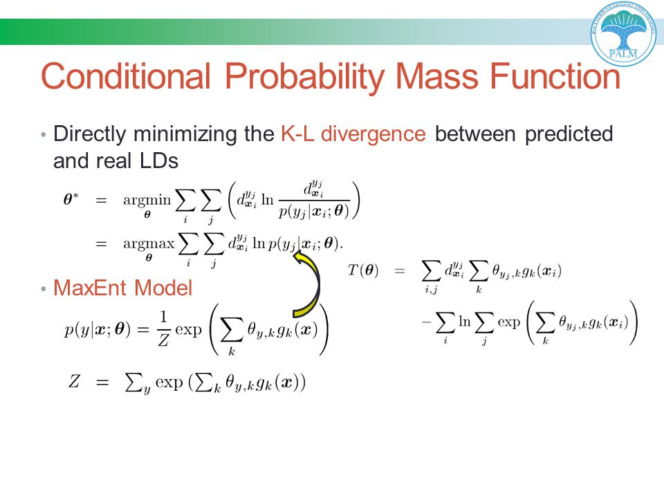 Conditional Probability Mass Function Directly minimizing the K-L divergence between predicted and real LDs MaxEnt Model
