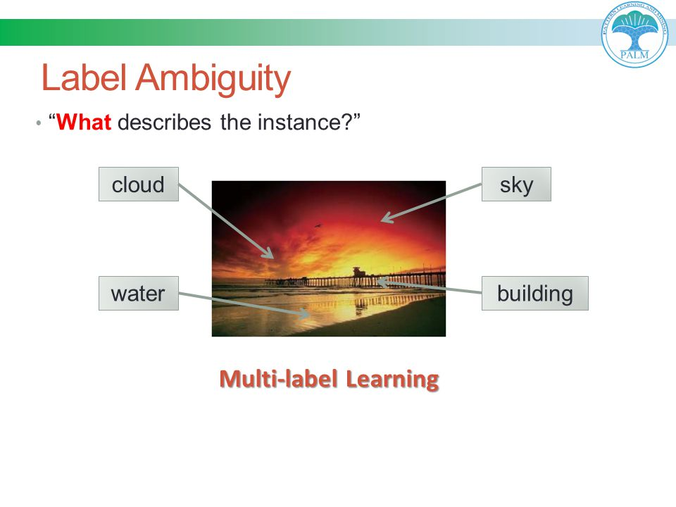 """Label Ambiguity """"What describes the instance?"""" cloudwaterskybuilding Multi-label Learning"""