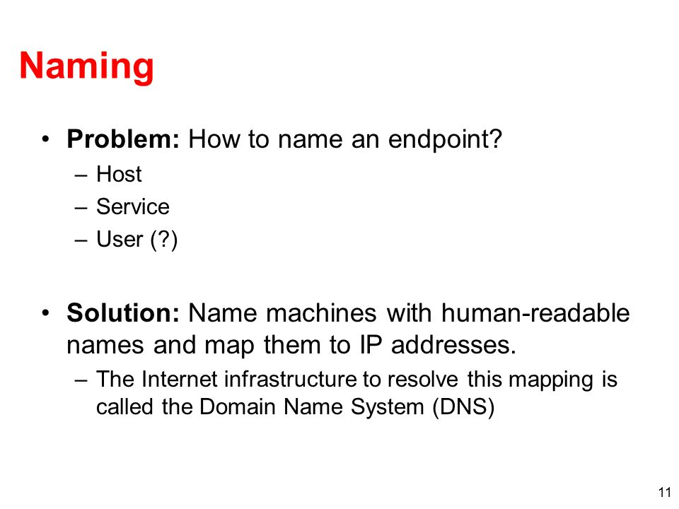 Naming Problem: How to name an endpoint? –Host –Service –User (?) Solution: Name machines with human-readable names and map them to IP addresses. –The
