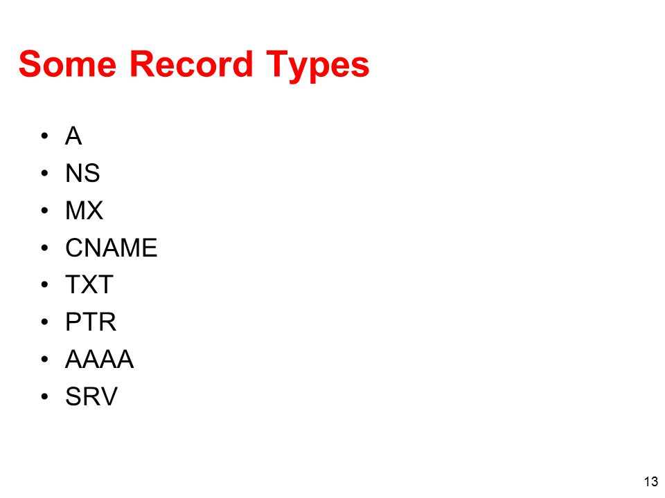 13 Some Record Types A NS MX CNAME TXT PTR AAAA SRV