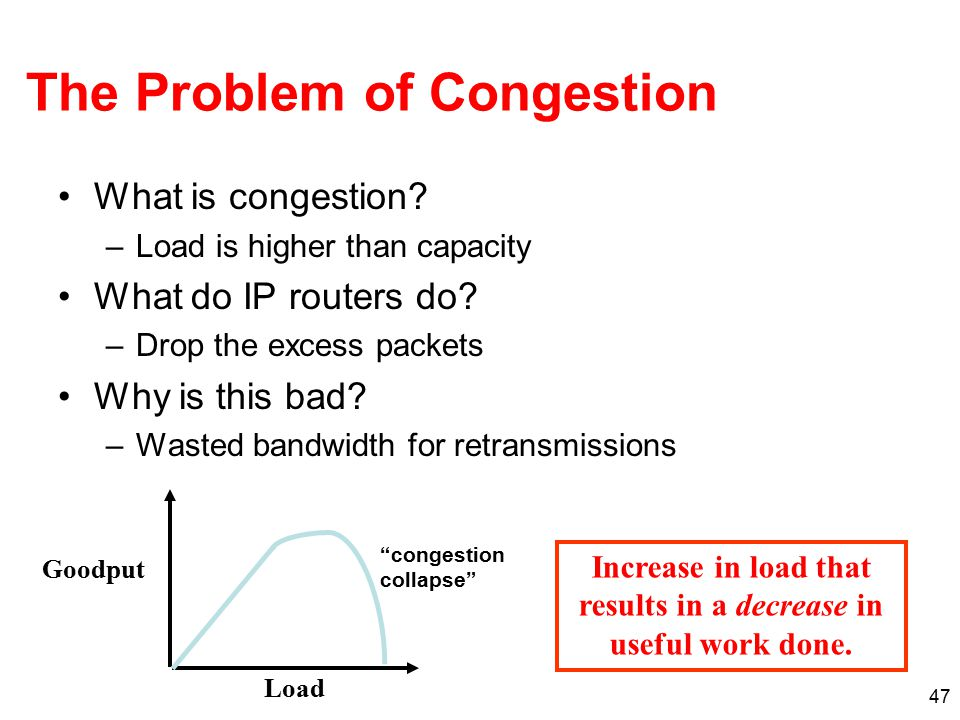 47 The Problem of Congestion What is congestion? –Load is higher than capacity What do IP routers do? –Drop the excess packets Why is this bad? –Waste