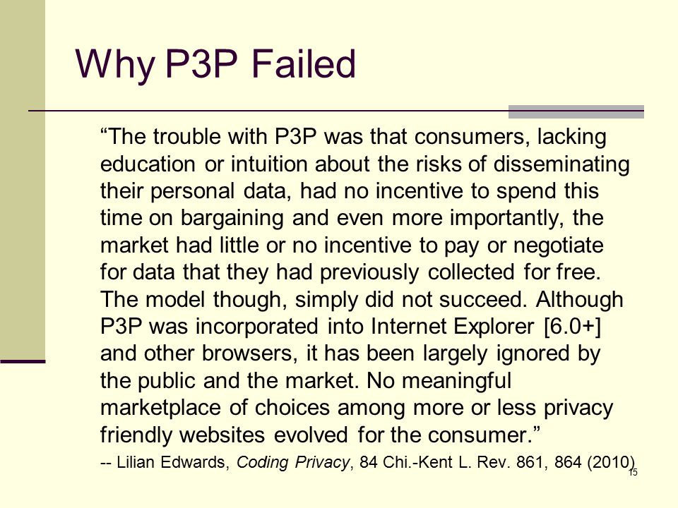 Why P3P Failed The trouble with P3P was that consumers, lacking education or intuition about the risks of disseminating their personal data, had no incentive to spend this time on bargaining and even more importantly, the market had little or no incentive to pay or negotiate for data that they had previously collected for free.