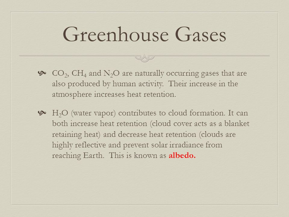 Greenhouse Gases  CO 2, CH 4 and N 2 O are naturally occurring gases that are also produced by human activity. Their increase in the atmosphere incre